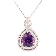 GIA Certified 8.53 Carat Rare Unheated Purple Sapphire Diamond Pendant Necklace