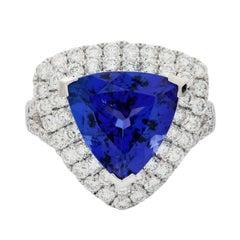 GIA Certified 6.02 Carat Dark Tanzanite Diamond Fashion Ring