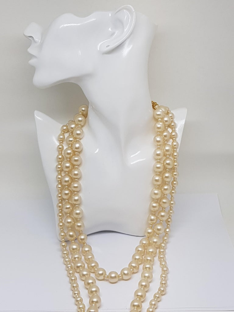 Chanel runway faux pearl necklace Signed chanel 95 P made in france 18 karat gold plated lock Length: 34,7inches  Collectors item All our jewellery comes with a certificate appraisal and 5 years guarantee   Please take a look at my other pieces of