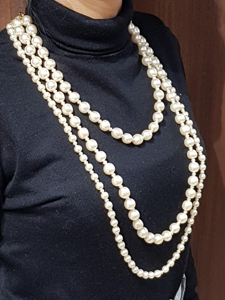 Women's or Men's Vintage Chanel Multi Strand Bead 18 Karat Gold Plated Runway Pearl Necklace  For Sale