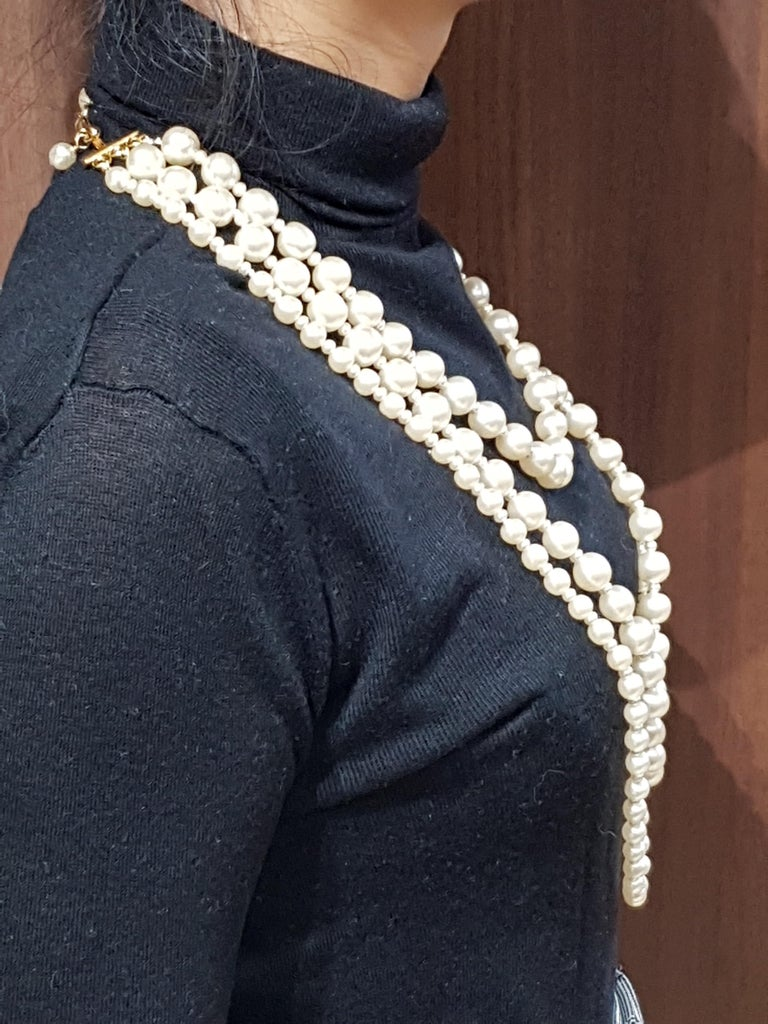 Vintage Chanel Multi Strand Bead 18 Karat Gold Plated Runway Pearl Necklace  For Sale 1