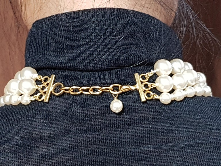 Vintage Chanel Multi Strand Bead 18 Karat Gold Plated Runway Pearl Necklace  For Sale 2