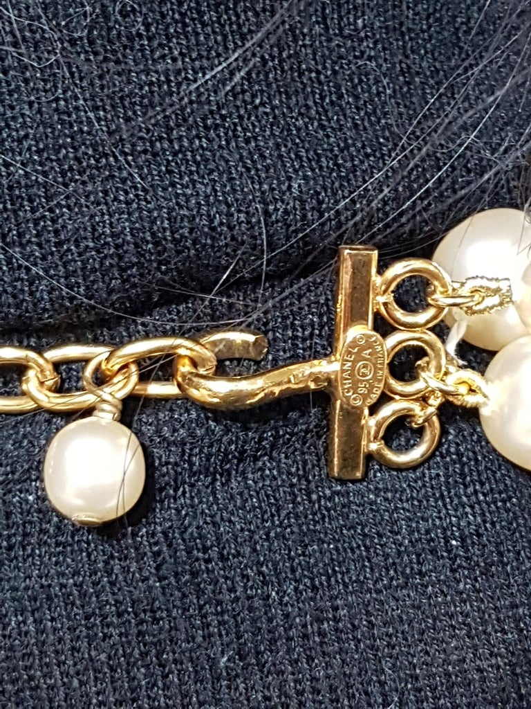 Vintage Chanel Multi Strand Bead 18 Karat Gold Plated Runway Pearl Necklace  For Sale 4