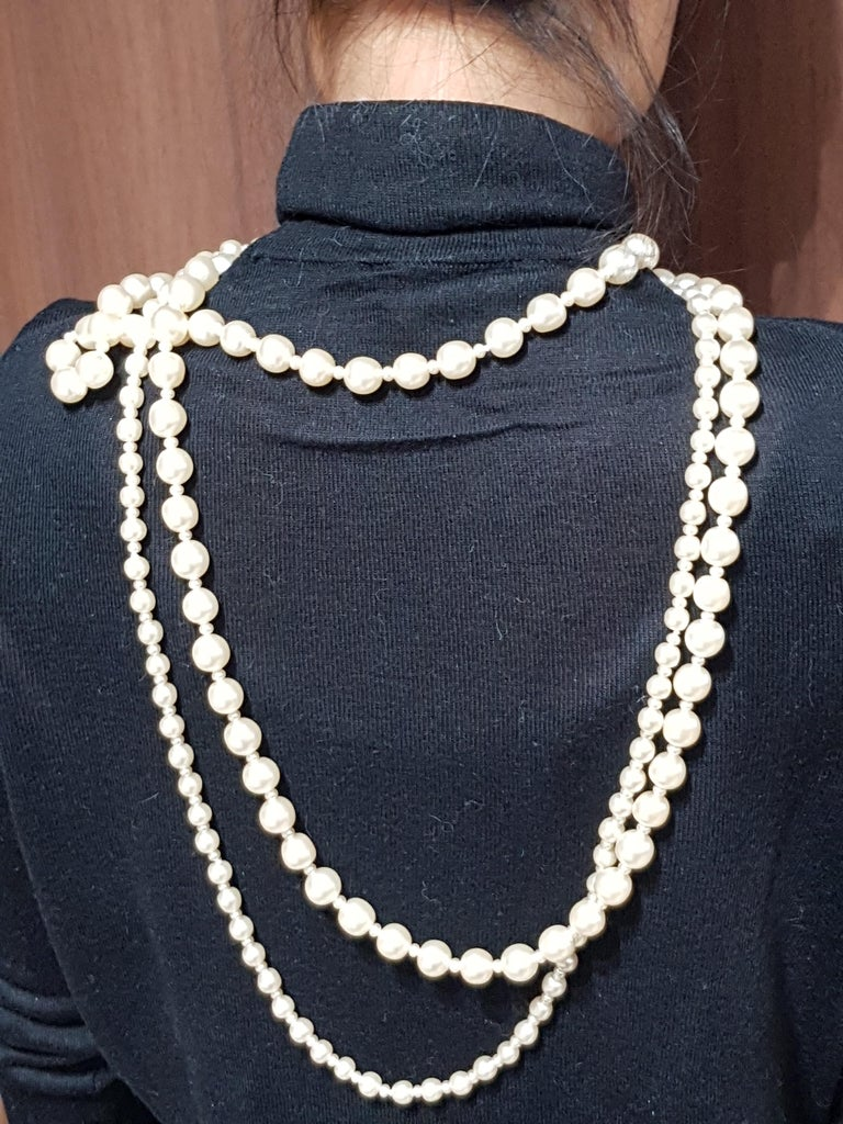 Vintage Chanel Multi Strand Bead 18 Karat Gold Plated Runway Pearl Necklace  For Sale 5