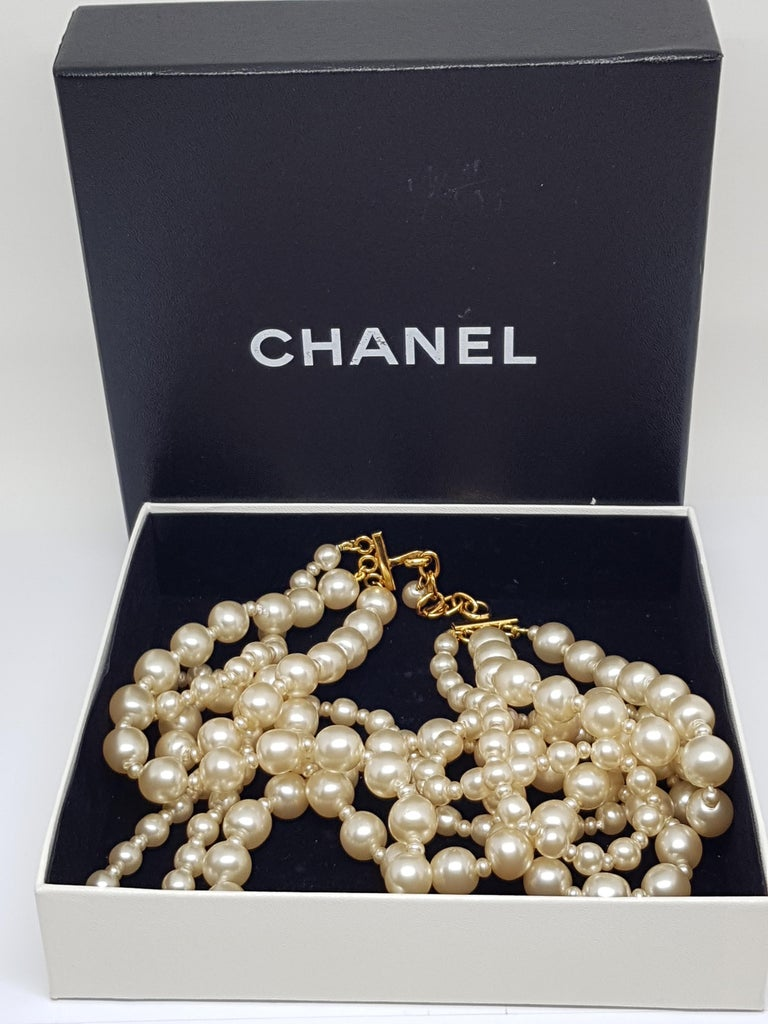 Vintage Chanel Multi Strand Bead 18 Karat Gold Plated Runway Pearl Necklace  For Sale 6