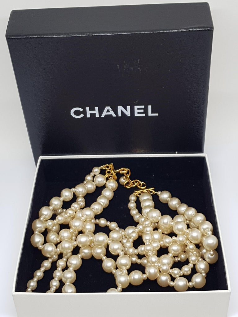 Vintage Chanel Multi Strand Bead 18 Karat Gold Plated Runway Pearl Necklace  For Sale 7