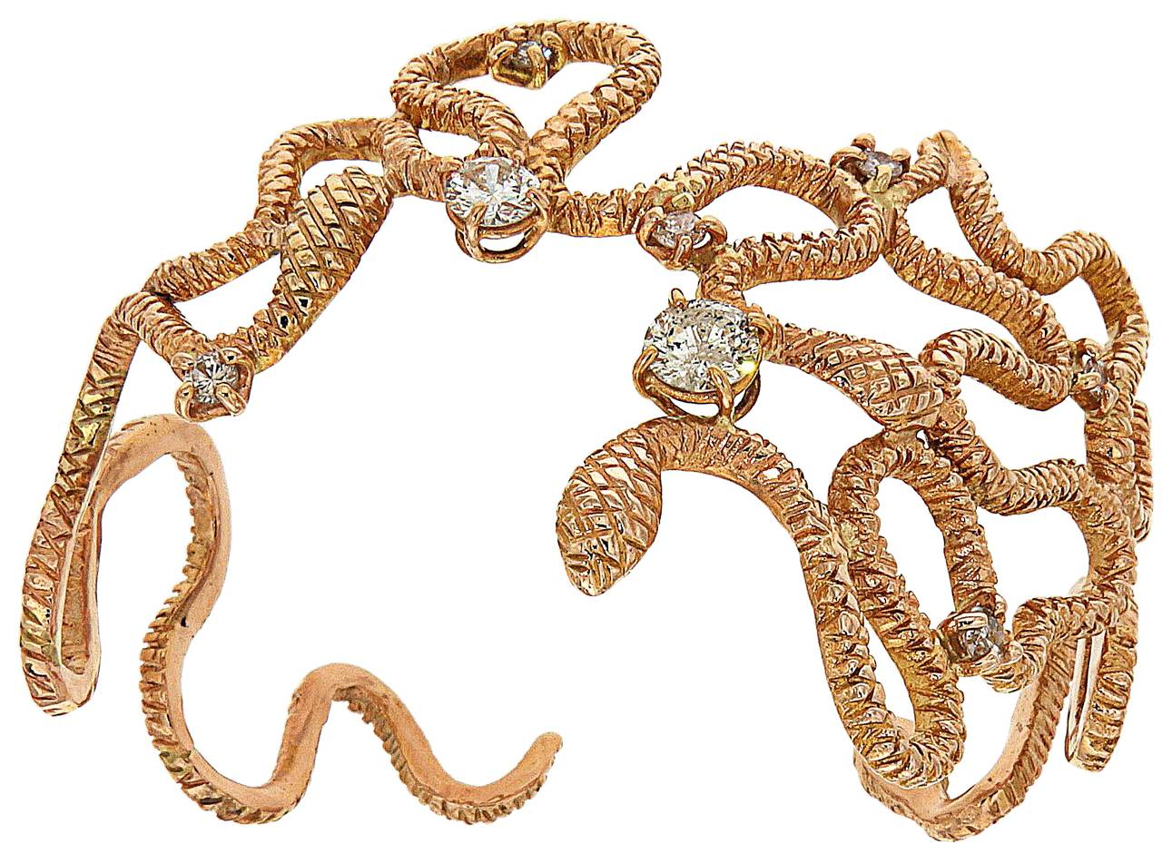 Diamonds 18 Karat Rose Gold Cuff Bracelet Handcrafted In Italy  In New Condition For Sale In Milano, IT