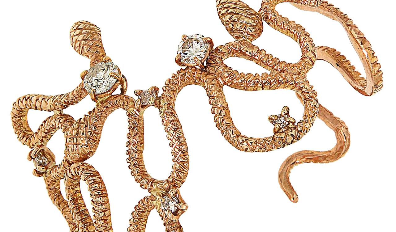 Women's Diamonds 18 Karat Rose Gold Cuff Bracelet Handcrafted In Italy  For Sale