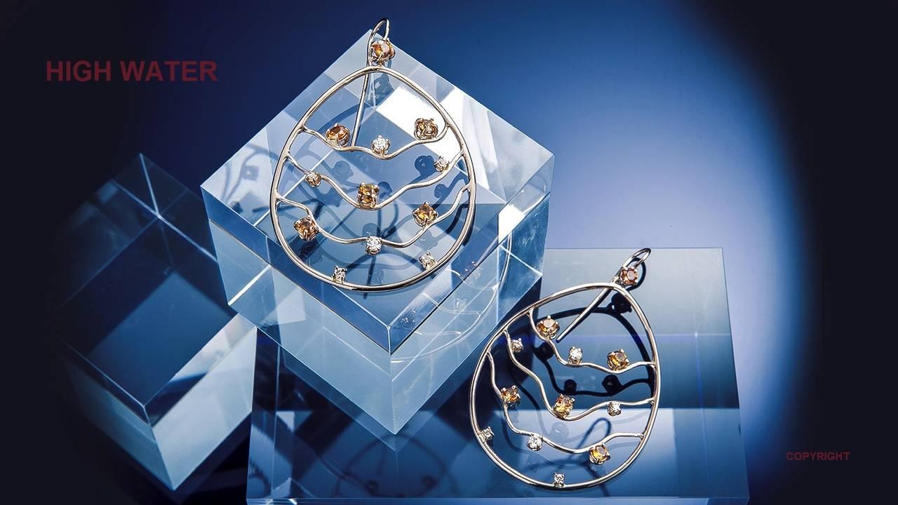 Orange Sapphires Diamonds Rose Gold Earrings Modern 3