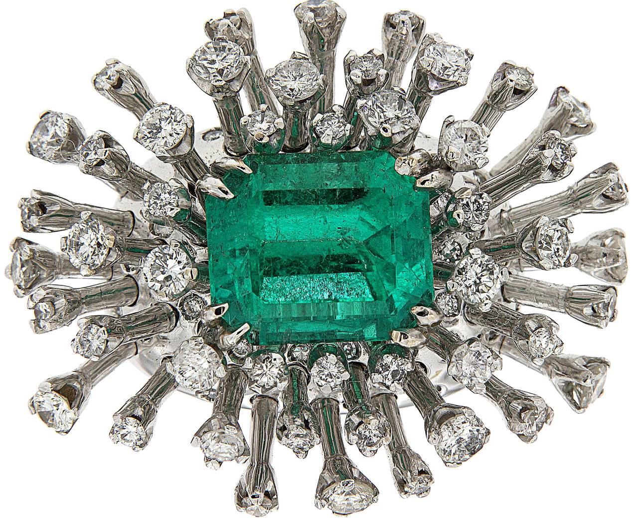 Women's 6.26 Carat Green Emerald Diamonds White 18K Gold Cocktail Ring Made In Italy For Sale