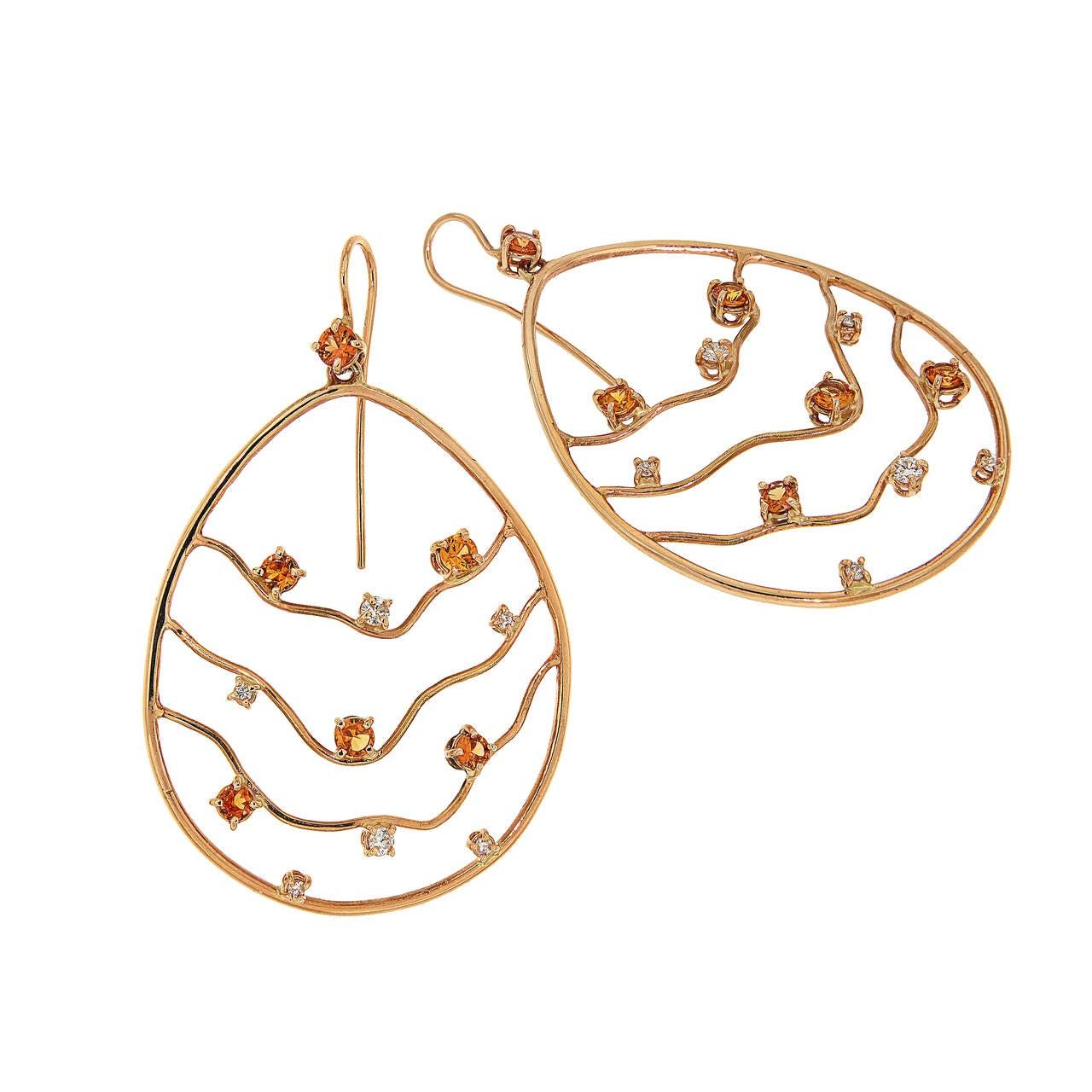 Orange Sapphires Diamonds Rose Gold Earrings Modern 2
