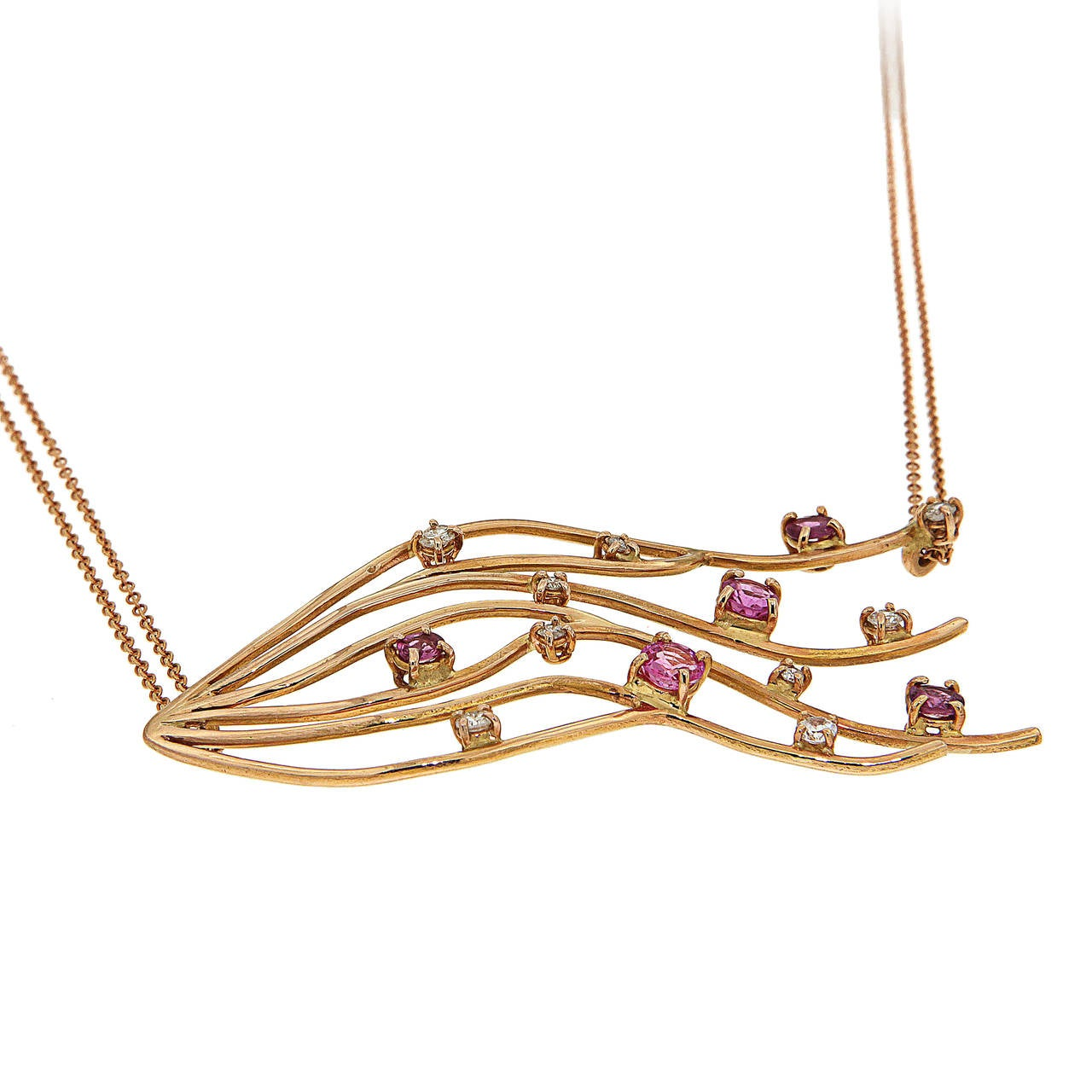Rose Gold 18k Necklace with 5 Rubies 1.50 ctw and 8 Diamonds 0.55 ctw Total Length  48 cm  The Rubies And Diamonds Branches Necklace by Italian designer, Botta Gioielli, is a part of their necklace collection and is inspired by fluid lines.