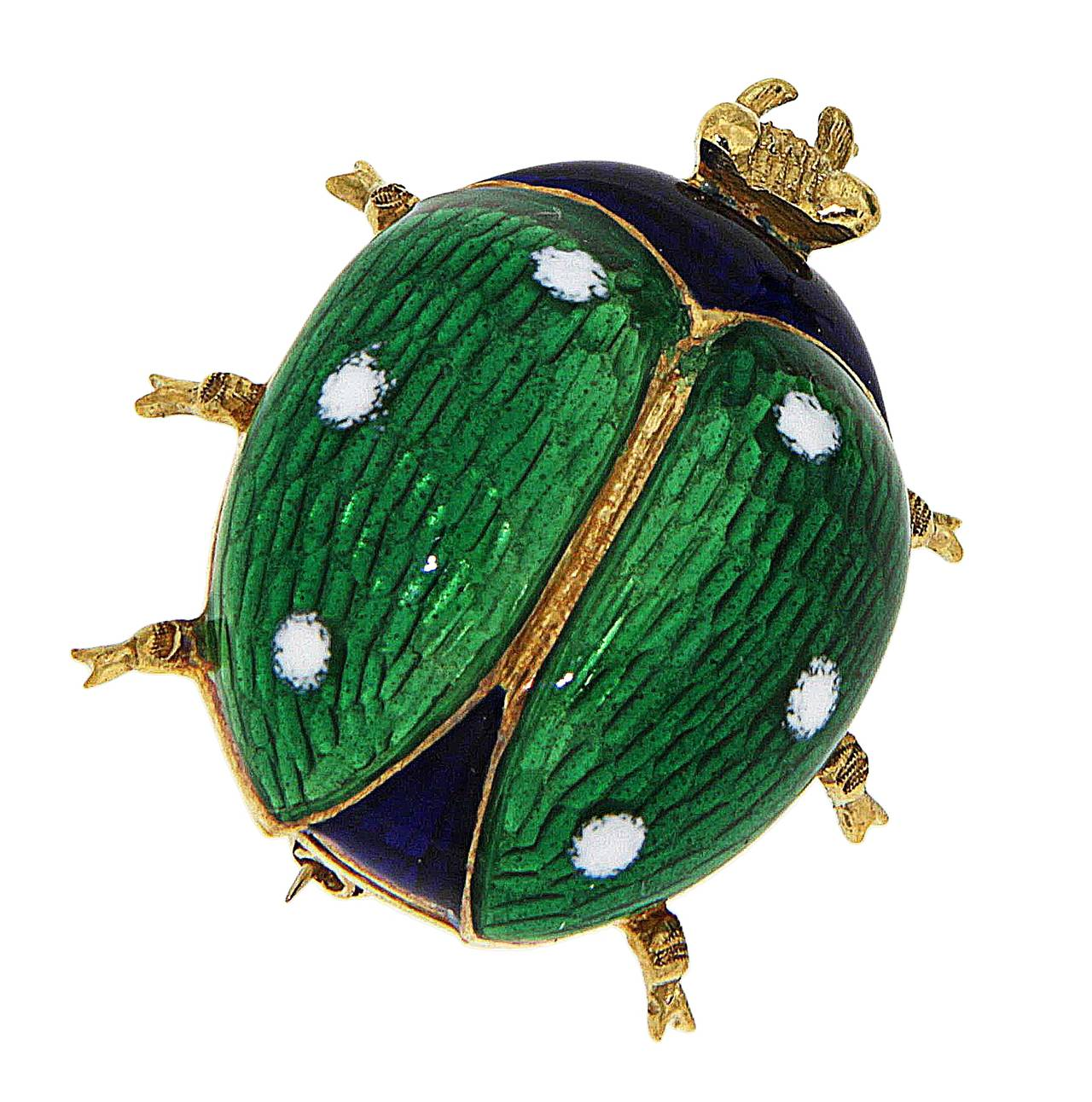 Green Blue White Enamel Yellow Gold Ladybug Brooches 1960s 3
