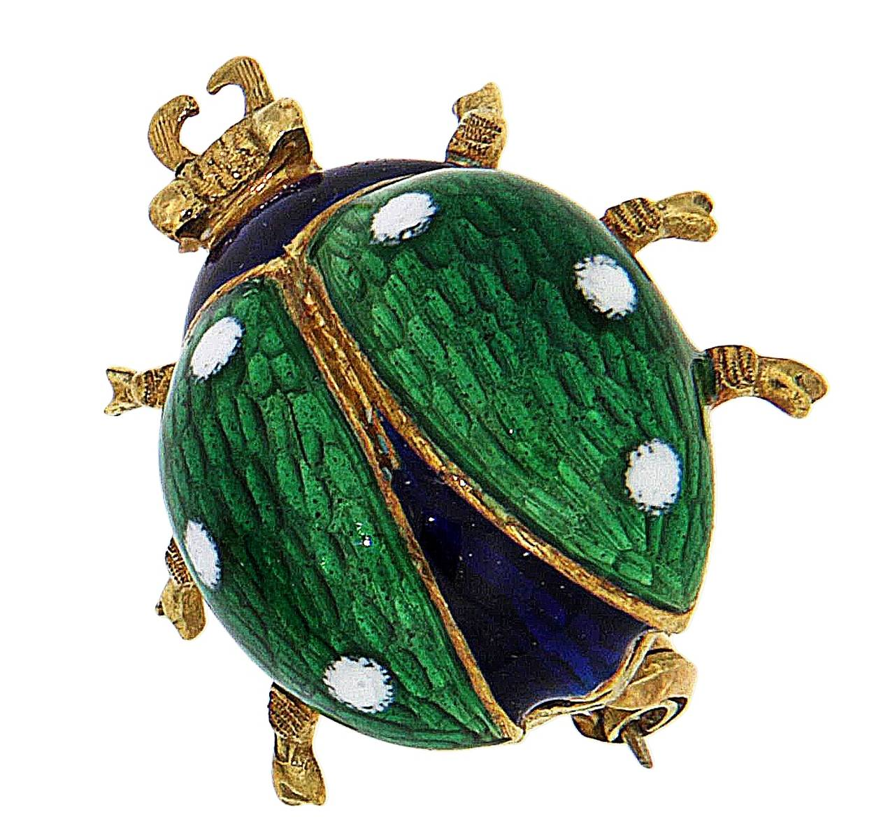 Green Blue White Enamel Yellow Gold Ladybug Brooches 1960s 4