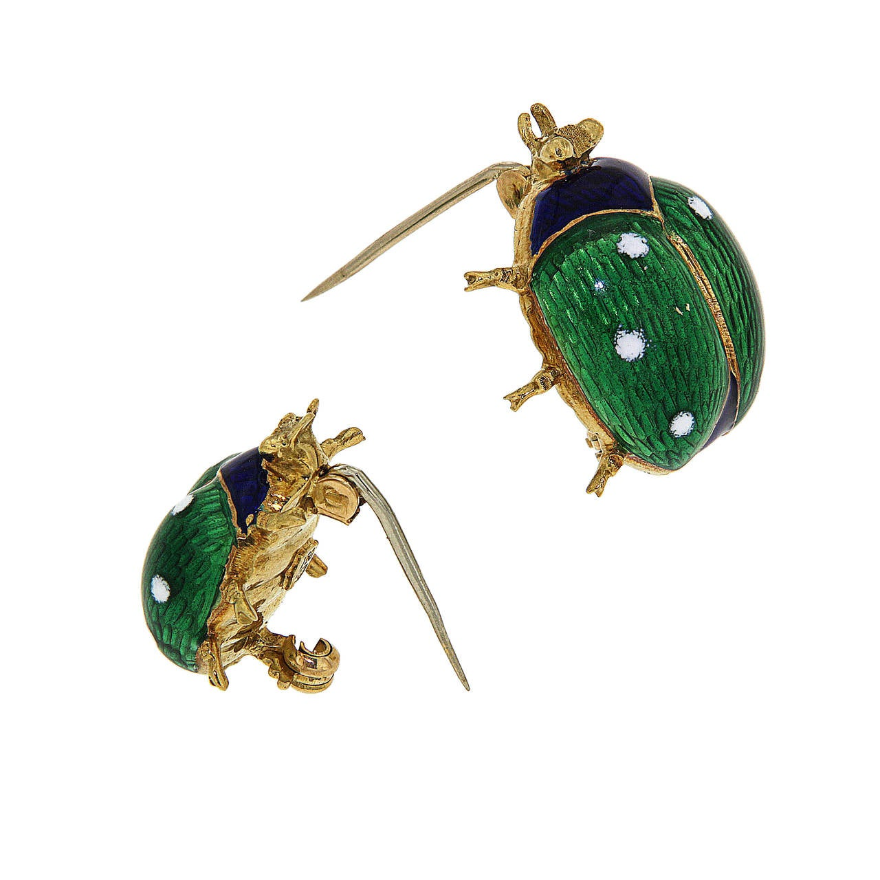 Green Blue White Enamel Yellow Gold Ladybug Brooches 1960s 2