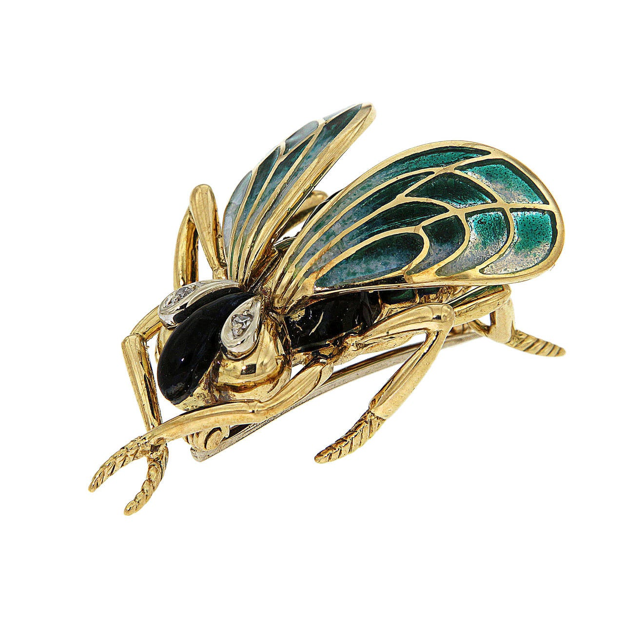 Green Enamel Diamonds Yellow Gold Fly Brooch 1970s 2