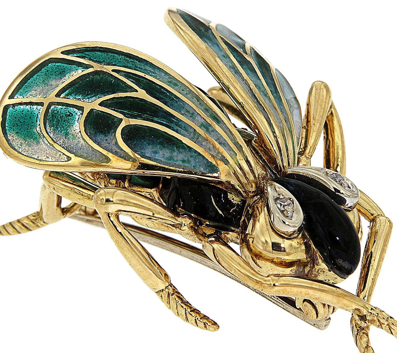 Green Enamel Diamonds Yellow Gold Fly Brooch 1970s 3