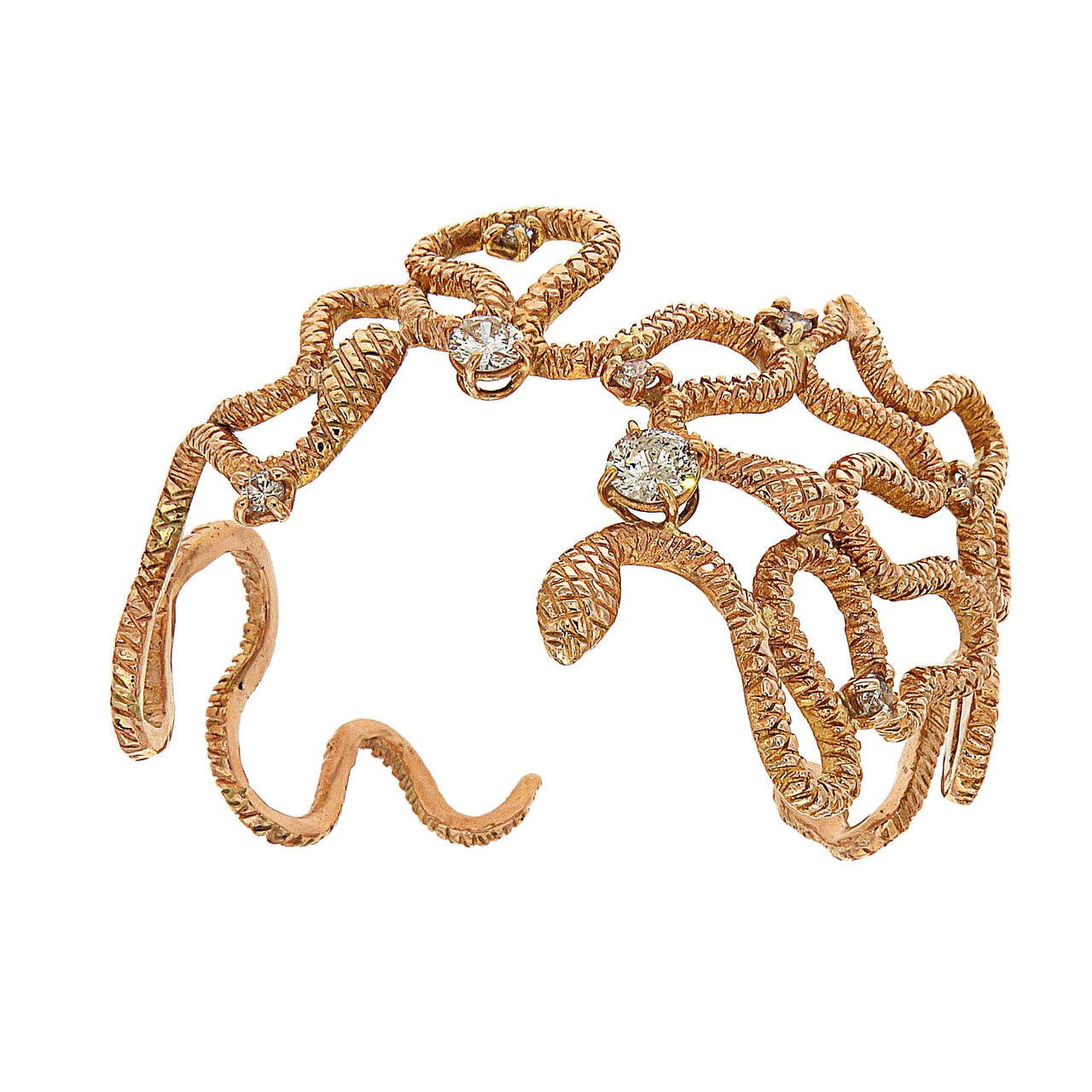Brilliant Cut Diamonds 18 Karat Rose Gold Cuff Bracelet Handcrafted In Italy  For Sale