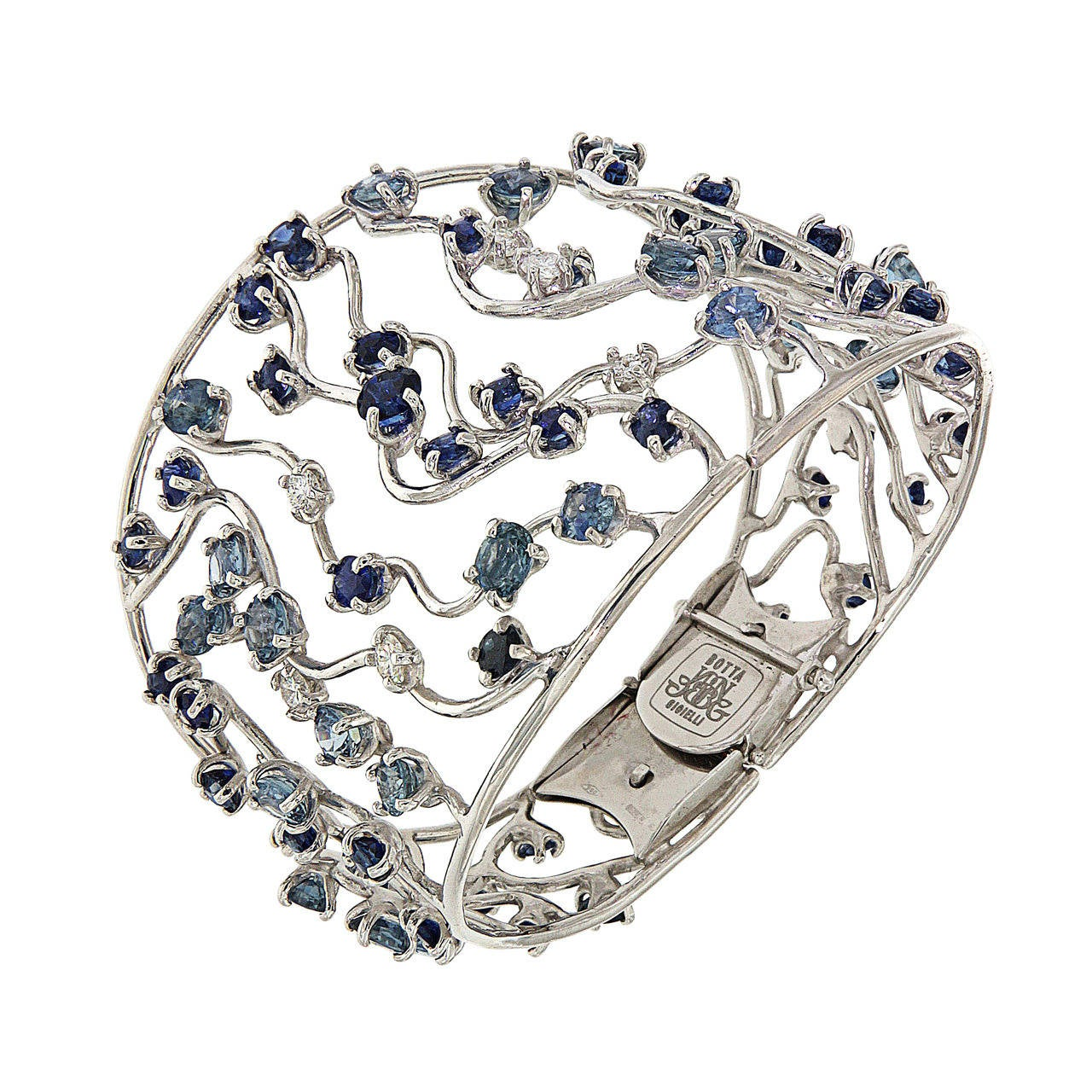 Blue Sapphires Diamonds White Gold Cuff Bracelet Modern 1