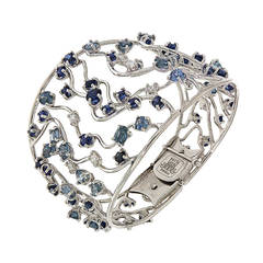 Blue Sapphires Diamonds White Gold Cuff Bracelet Modern