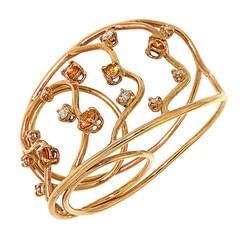 Orange Sapphires Diamonds Rose Gold Two Fingers Ring Modern
