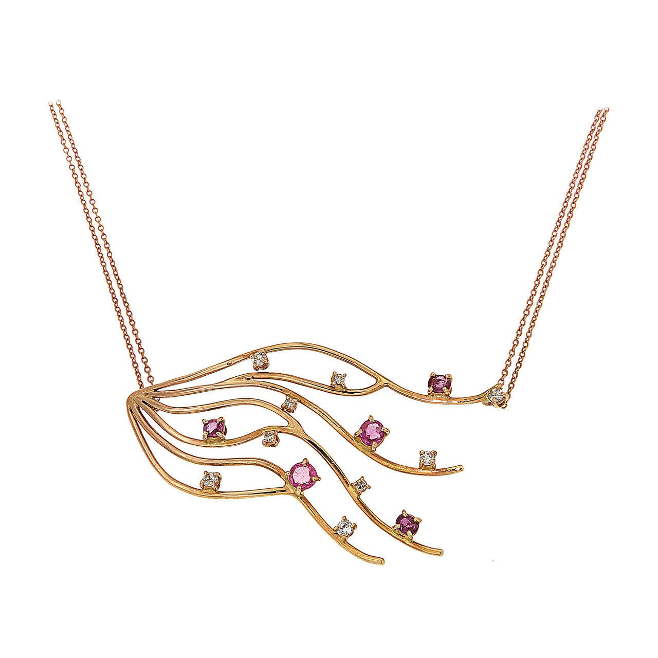 Red Ruby Diamonds Rose Gold Necklace Modern For Sale