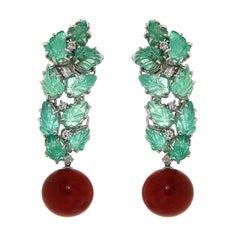 Red Coral Green Emerald Diamonds 18 Karat White Gold Dangle Clip-on Earrings