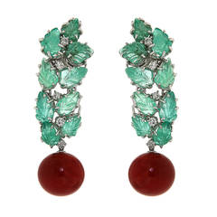 Red Coral Green Emerald Diamonds White Gold Drop Earrings