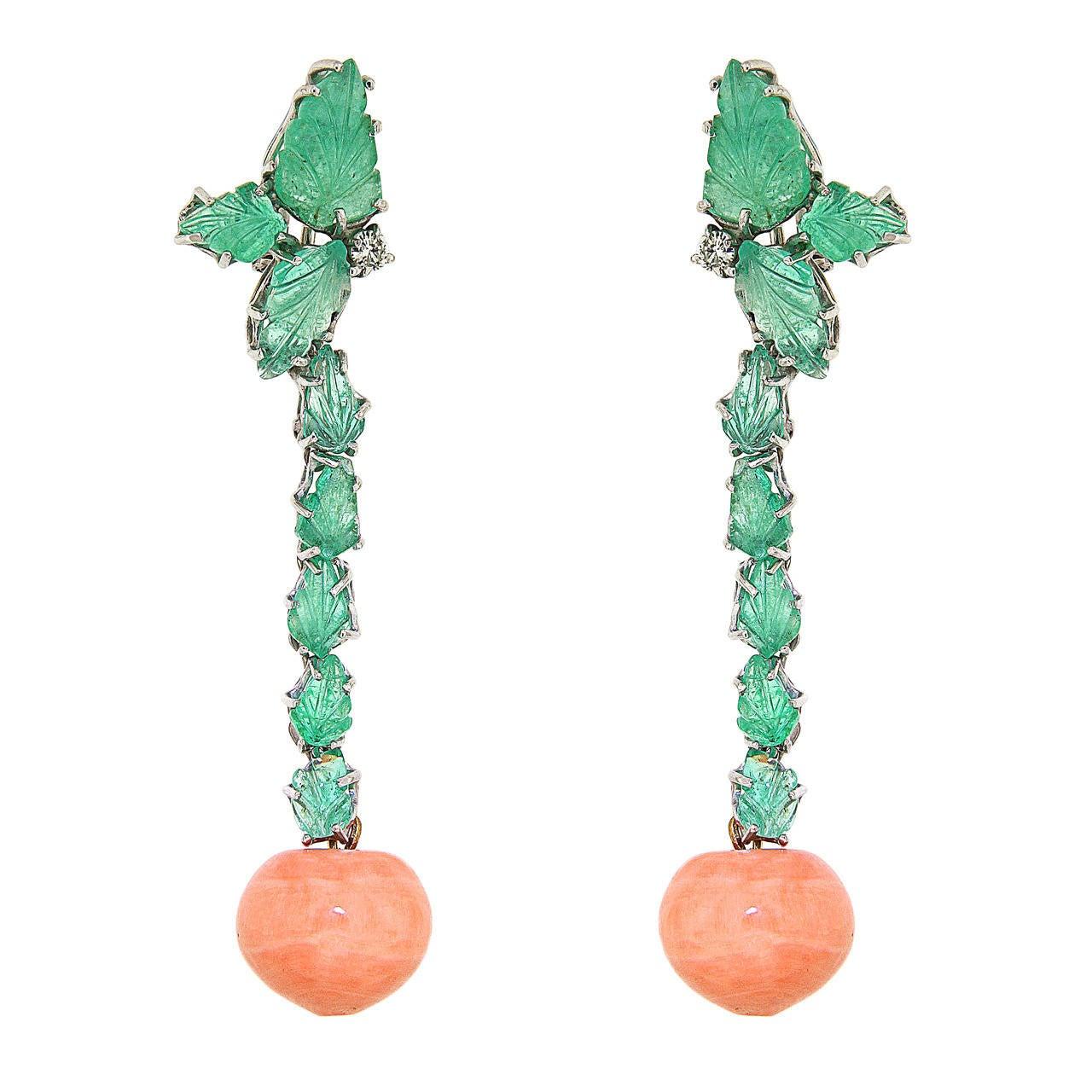 Coral Green Emerald Diamonds 18K White Gold Dangle Clip-on Earrings