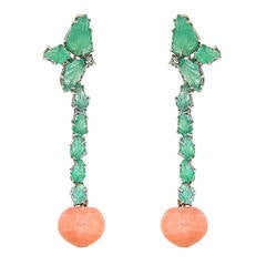 Coral Green Emerald Diamonds White Gold Drop Earrings