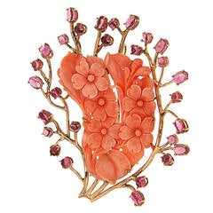 Pink Tourmaline Coral Rose Gold Flowers Brooch