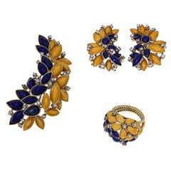 Antique 1950s Blue Yellow Enamel Diamonds Gold Flower Ring Earrings Brooch