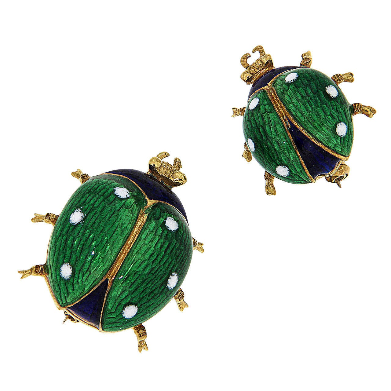 Green Blue White Enamel Yellow Gold Ladybug Brooches 1960s 1