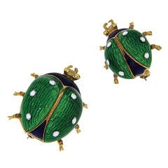 Green Blue White Enamel Yellow Gold Ladybug Brooches, 1960s