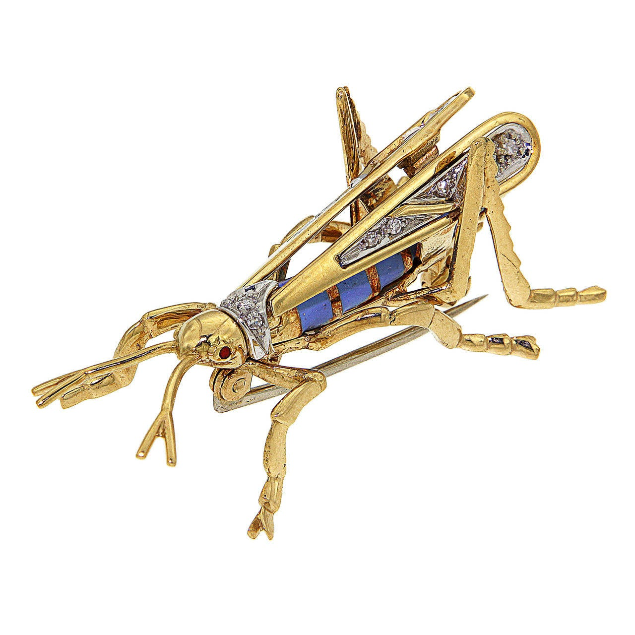 Enamel Diamonds Yellow Gold Grasshopper Brooch, 1970s