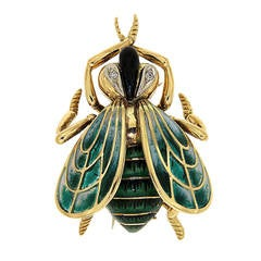 Green Enamel Diamonds Yellow Gold Fly Brooch, 1970s