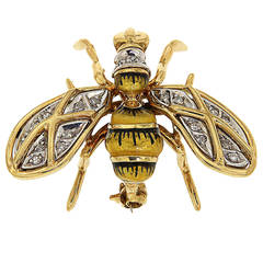 Enamel Diamonds Yellow White Gold Bee Brooch, 1970s