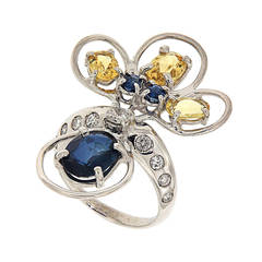 Blue Sapphires Yellow Beryl Diamonds White Gold Ring