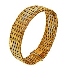 1960s 18 Carat Rose White Gold Engraved Bracelet