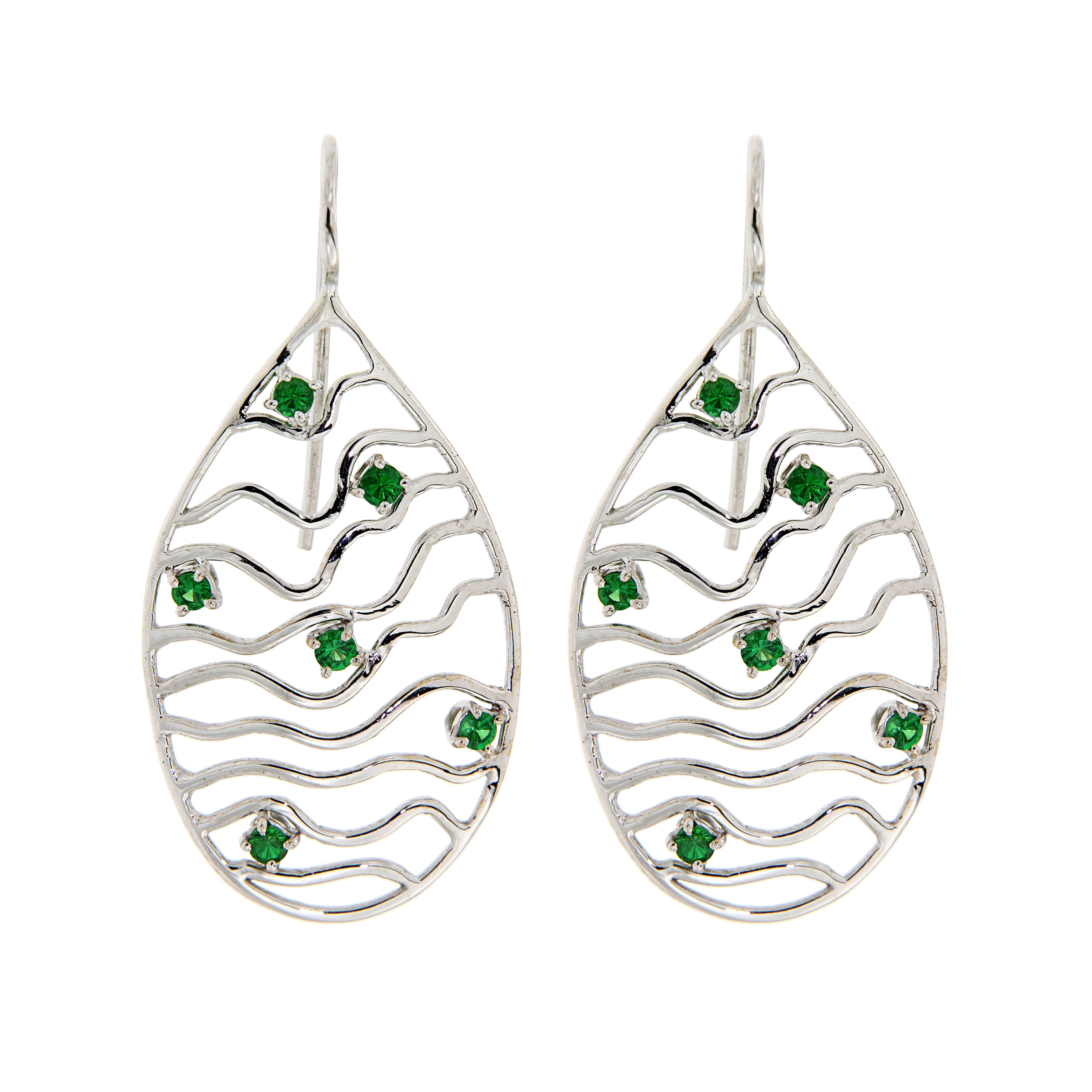 Tsavorite White Gold 18K Drop Earrings Handcrafted in Italy by Botta Gioielli