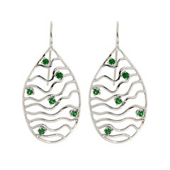 Tsavorite White Gold Earrings Modern