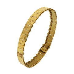 1960s 18 Karat Yellow Gold Engraved Cuff Bracelet