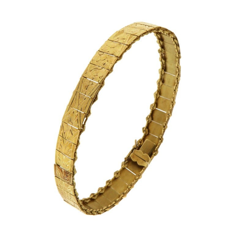 1960s 18 Karat Yellow Gold Engraved Cuff Bracelet For Sale