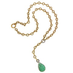 Cabochon Green Emerald Diamonds Yellow Gold Drop Necklace Made In Italy