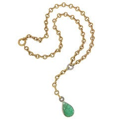 Cabochon Green Emerald Diamonds Yellow Gold Drop Necklace, 1980s