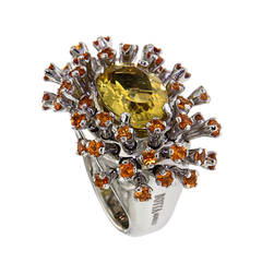 Yellow Beryl Orange Sapphires White Gold Cocktail Ring Modern
