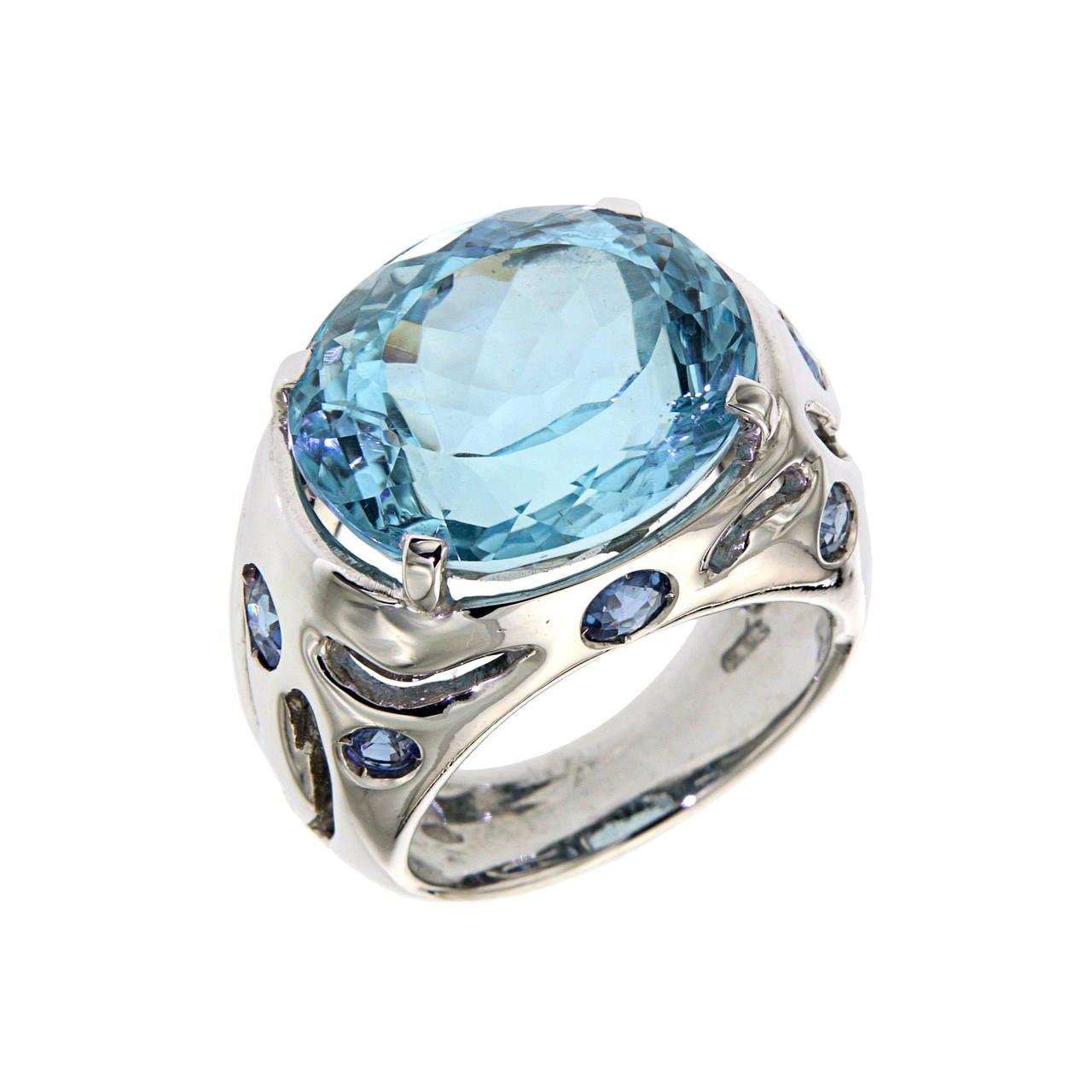 Blue Topaz Sapphire White Gold Modern Cocktail Ring