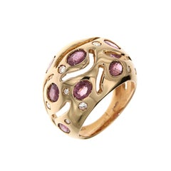 Red Ruby Diamonds Rose Gold Cocktail Ring Handcrafted In Italy by Botta Gioielli