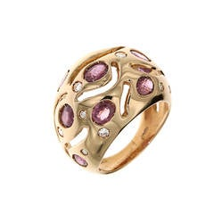Red Ruby Diamonds Rose Gold Cocktail Ring Modern