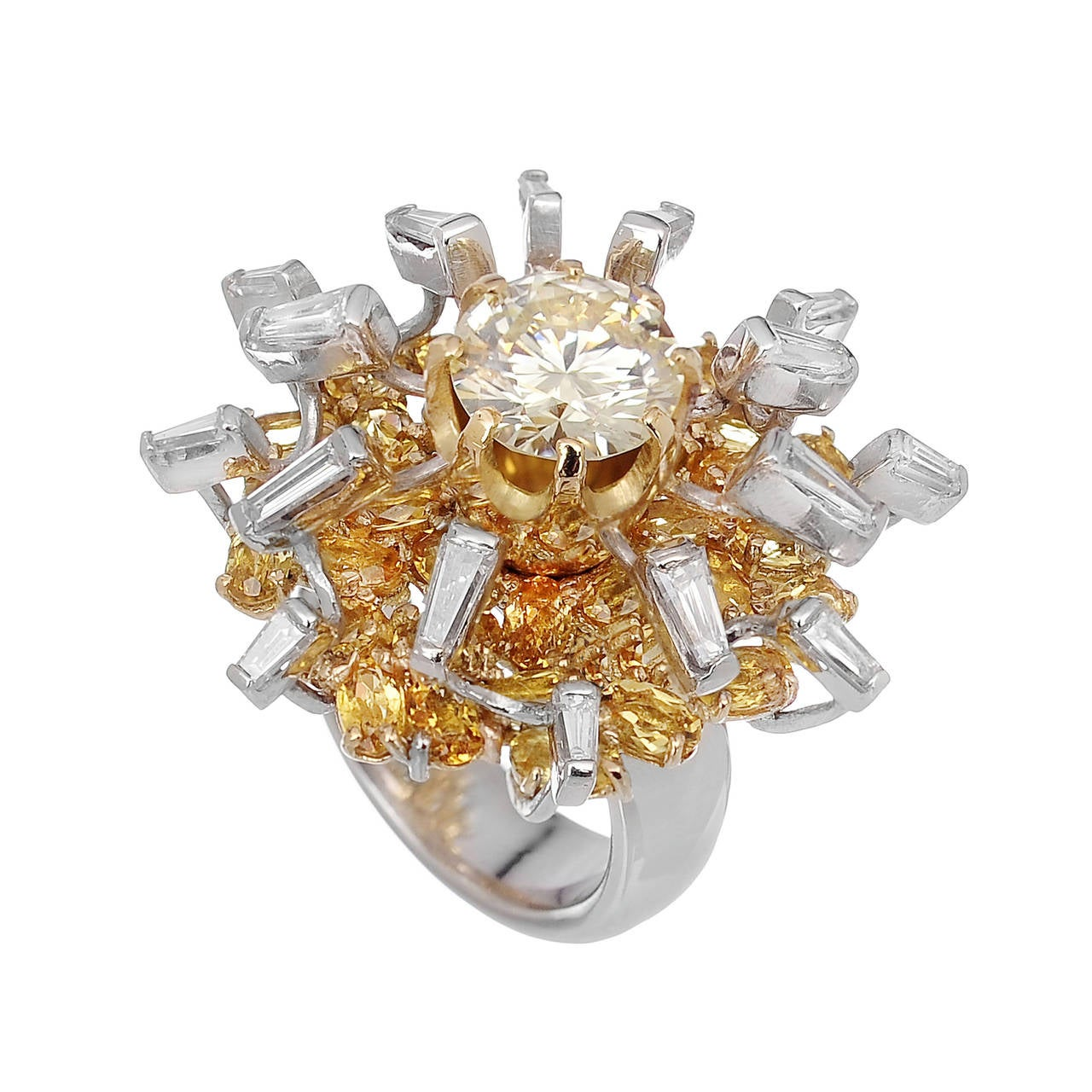 Diamonds Yellow Beryls White Gold Statement Cocktail Ring Made In Italy